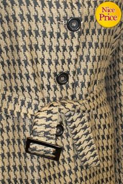 Κομψό κλασικό ΠΑΛΤΟ σε σχέδιο pied de poule με ζώνη στη μέση