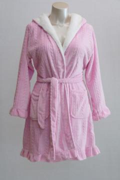 Ελαφριά, μαλακή ΡΟΜΠΑ fleece κοντή με κουκούλα σε παλ χρώματα.
