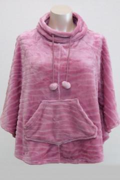 Xνουδωτή ΖΑΚΕΤΑ - ΠΟΝΤΣΟ fleece με μπροστινές τσέπες. Σε χρώματα