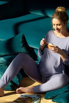 Άνετο παντελόνι πυζάμα εγκυμοσύνης με μπάσκα. Από εξαιρετικό ύφασμα bamboo viscose